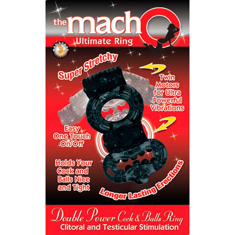 Macho Ultimate Double Power Cock and Balls Jelly Ring Black - View #4