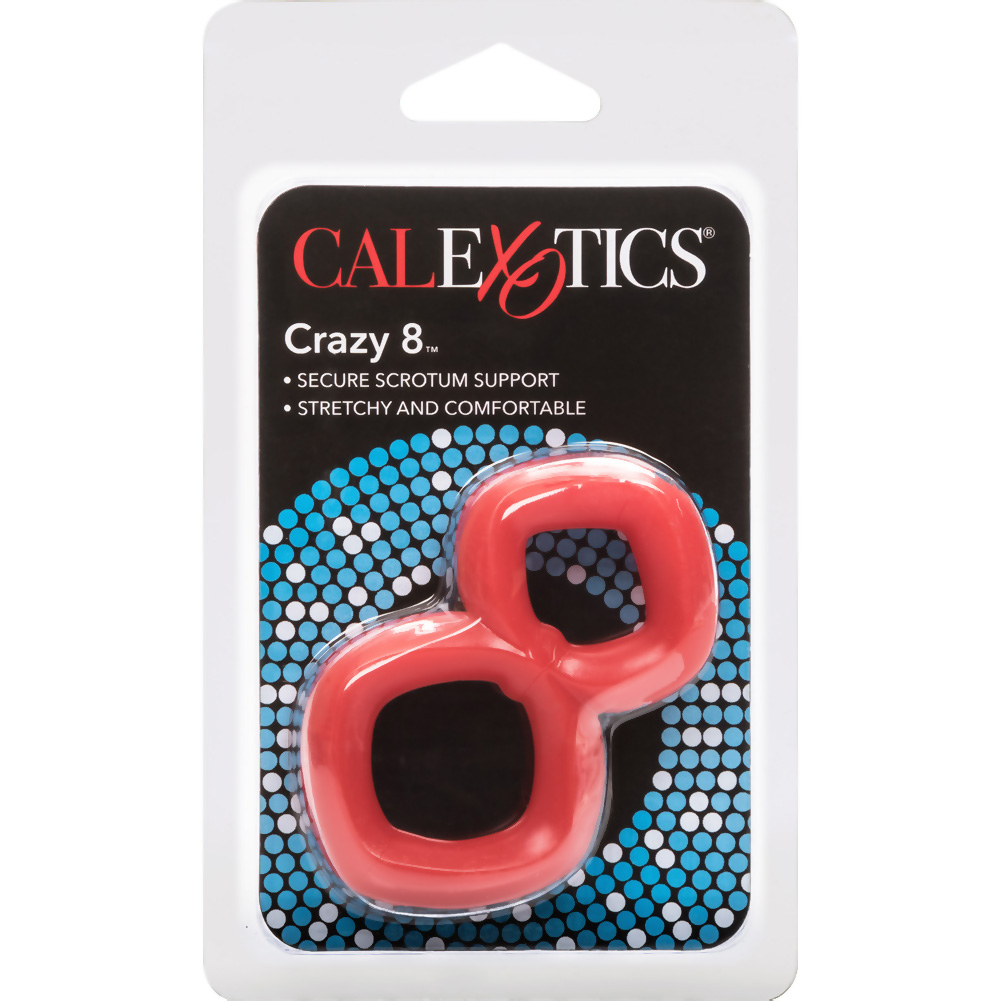 "California Exotics Crazy 8 Cock Ring 2.75"" Red - View #3"