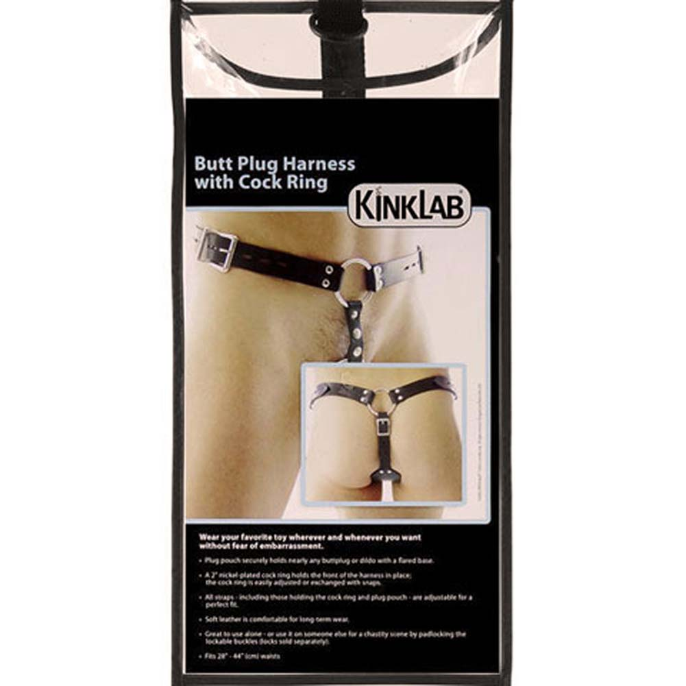 KinkLab Butt Plug Harness with Cock Ring Black - View #3
