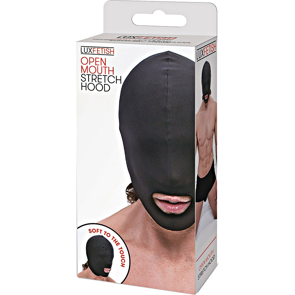 Lux Fetish Open Mouth Stretch Hood Black - View #4
