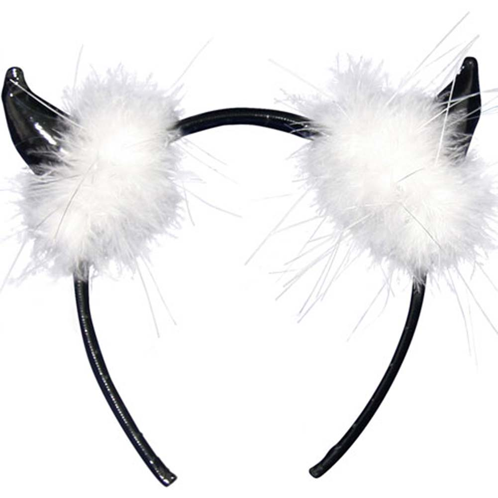 Black Devil Horns with White Fur Headband - View #1