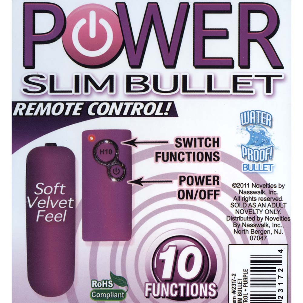 """Power Slim Bullet with 10 Function Wireless Remote 2.5"""" Purple - View #3"""