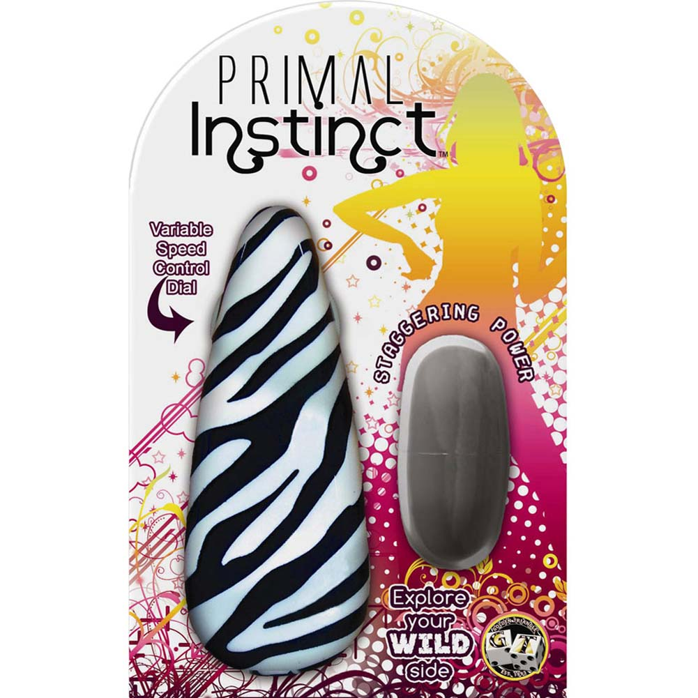 Primal Instinct Vibrating Bullet with Zebra Remote Control - View #1