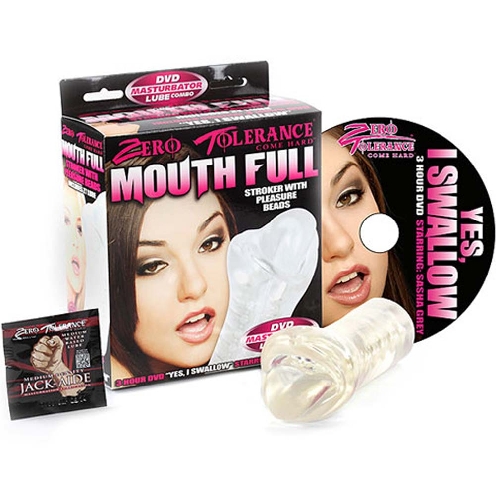 """Mouth Full Stroker with Pleasure Beads 6"""" Clear and DVD - View #2"""