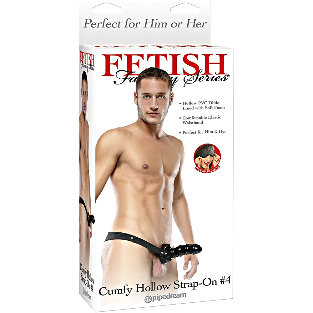 "Fetish Fantasy Cumfy Hollow Strap-On No. 4 with Thick Ridged Dong 7.5"" Black - View #4"