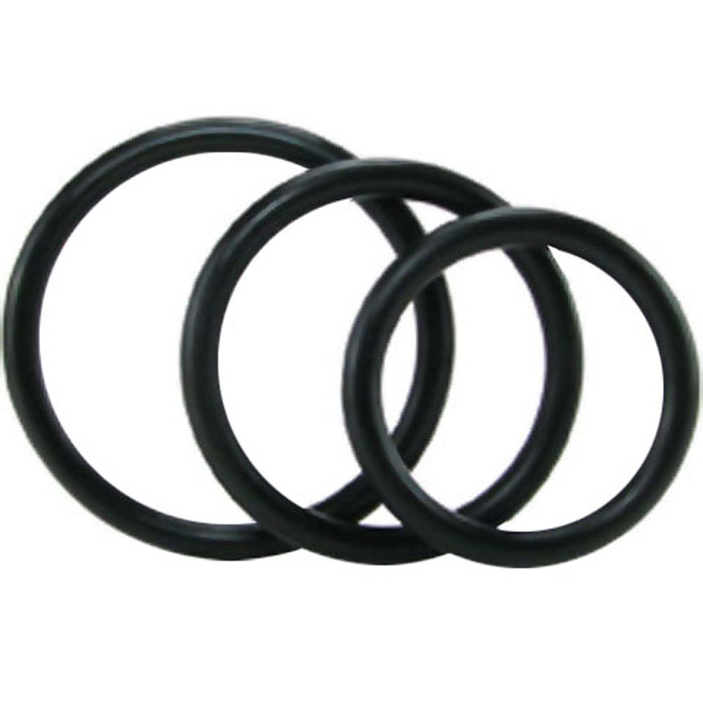 Sex and Mischief SM Nitrile Cock Rings 3 Pack Black - View #2