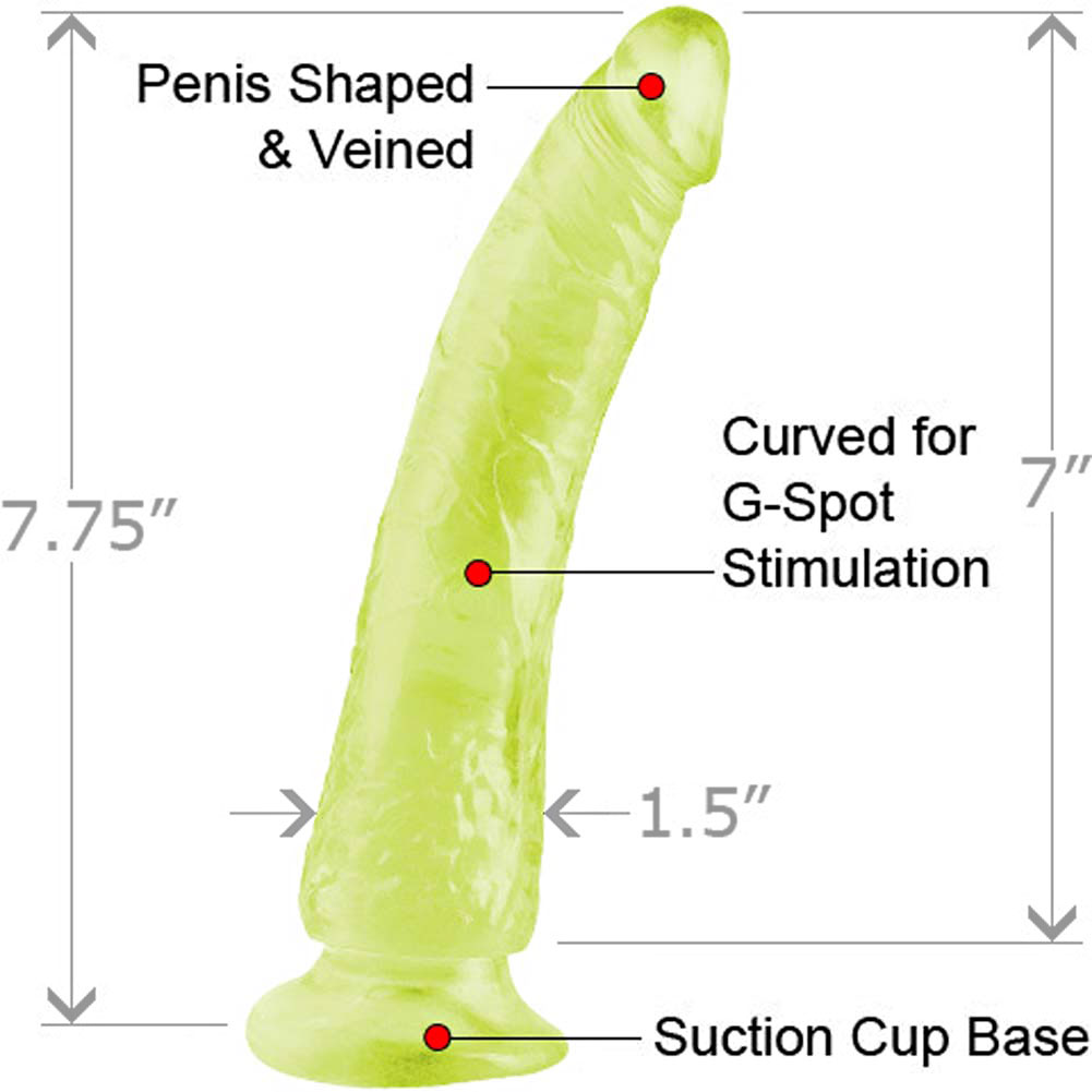 "Basix Rubber Works Slim Dong with Suction Cup 7"" Glow-in-the-Dark - View #1"