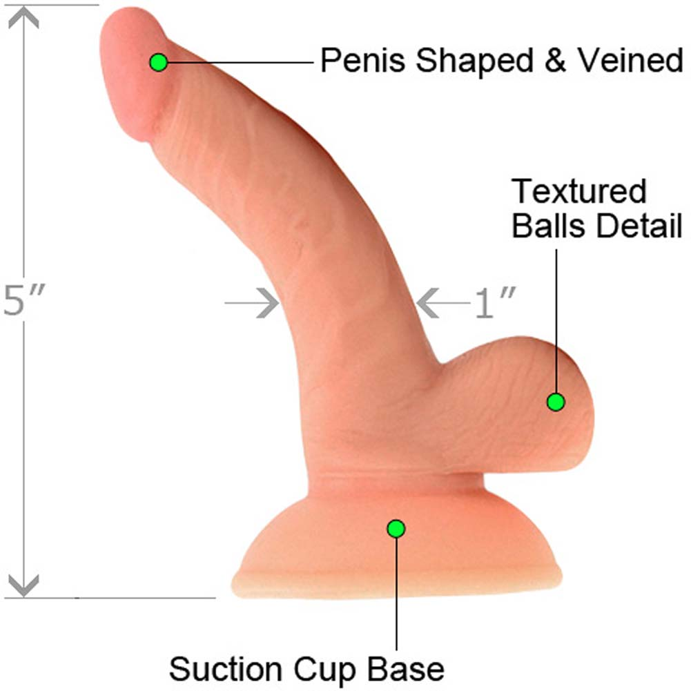 "RealSkin All American Mini Whoppers Curved Dong with Balls 4"" Flesh - View #1"