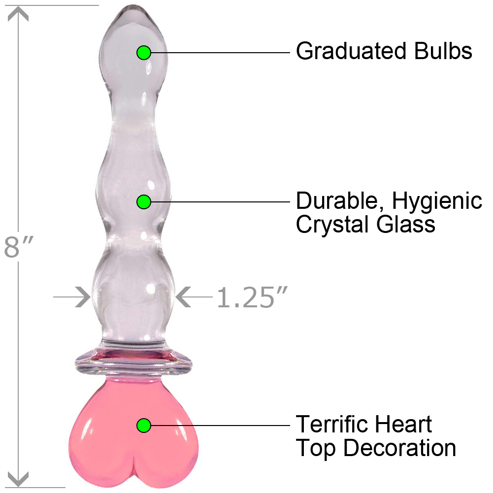"NS Novelties Crystal Heart of Glass Dong 8"" Pink - View #1"