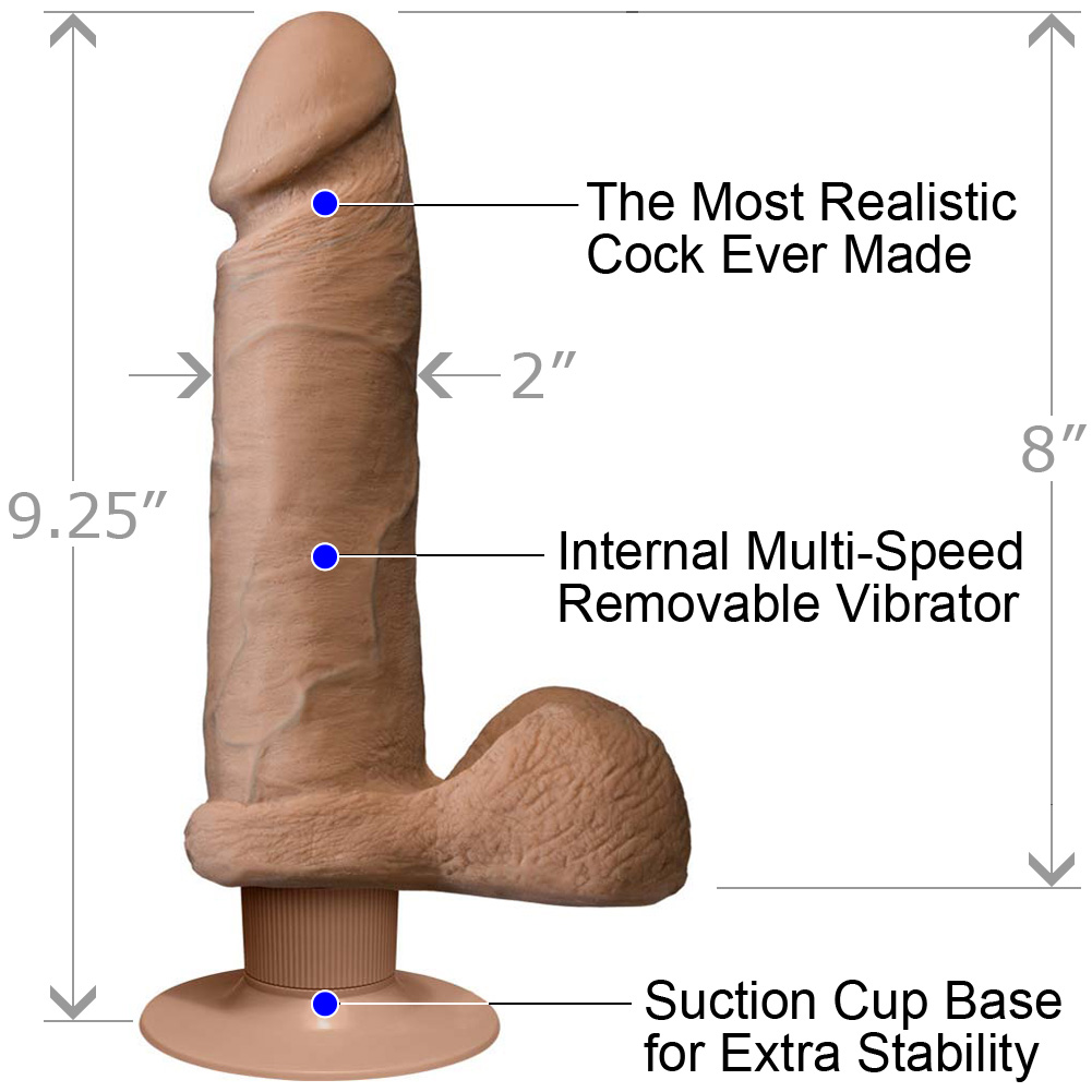 Vibrating Realistic Cock UltraSKYN with Balls 8 Iinch Brown - View #1