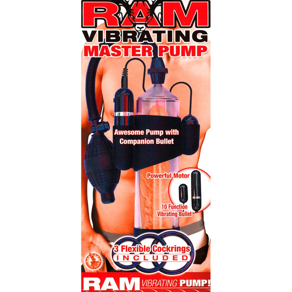 "Ram Vibrating Master Penis Pump 8"" by 2.25"" Clear - View #1"