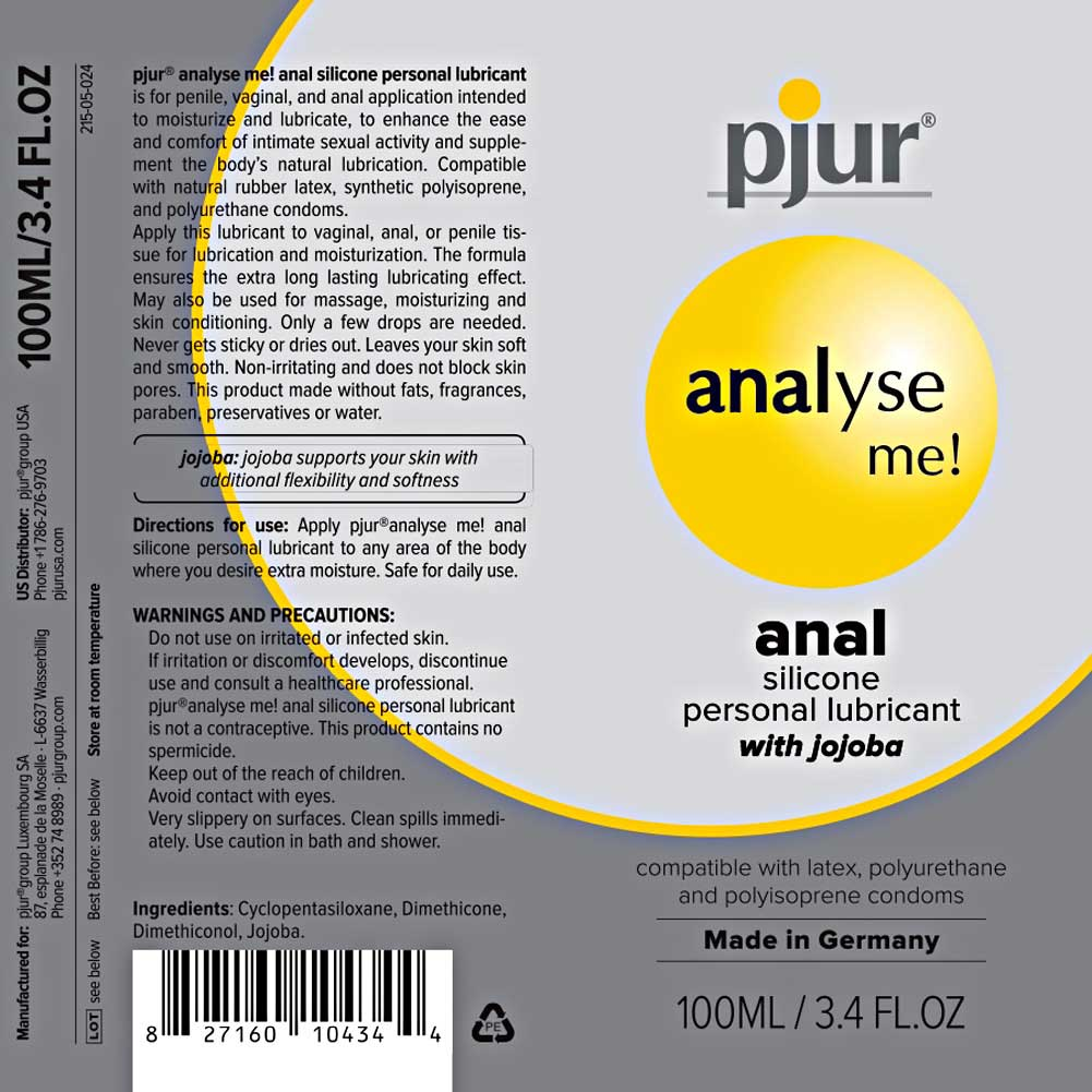 Pjur Analyse Me Relaxing Anal Glide Silicone Based Personal Lubricant 3.4 Fl.Oz 100 mL - View #3