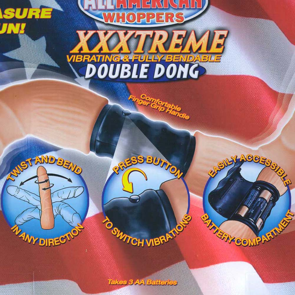 """RealSkin All American Whoppers XXXtreme Vibrating Double Dong 21"""" Natural - View #1"""