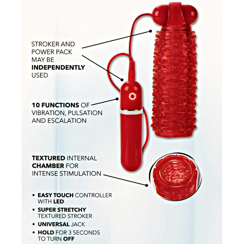 CalExotics Adonis 10 Function Vibrating Stroker Red - View #1