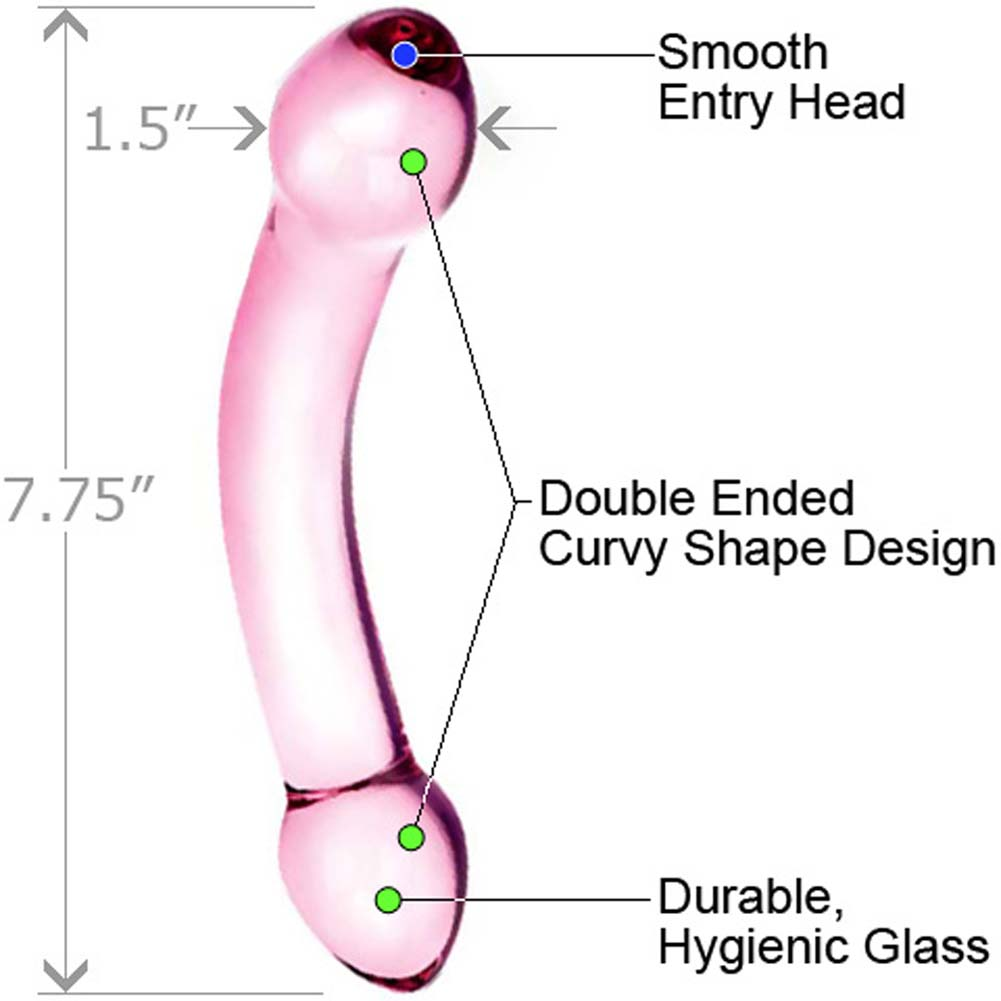 """Glas Double Trouble Dual Ended Glass Dildo 7.75"""" Purple - View #1"""