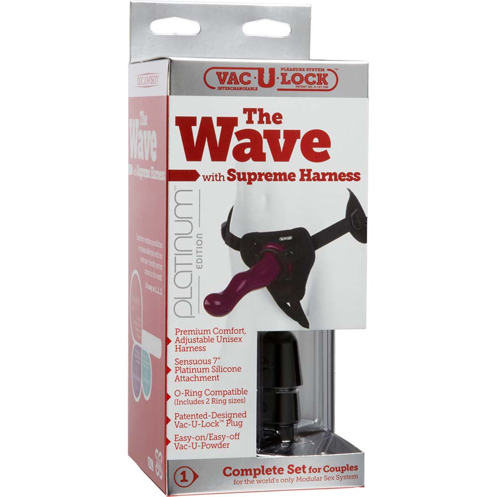 Vac-U-Lock Supreme Harness with Wave Silicone Dong Purple - View #4