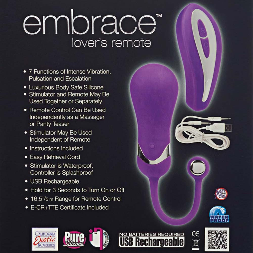 California Exotics Embrace Lovers Remote USB Rechargeable Silicone Vibe Purple - View #1