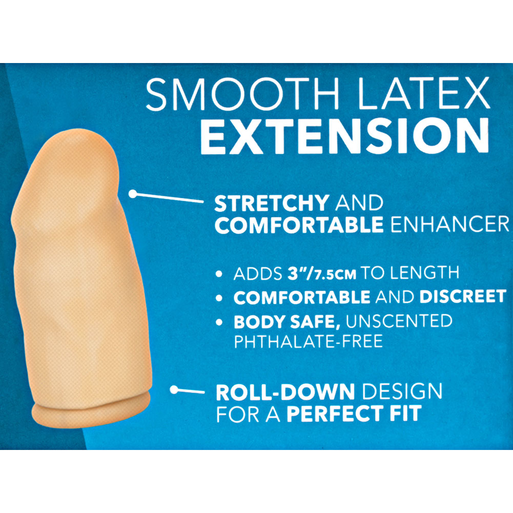 "3"" Extra Length Smooth Latex Penis Extension Condom Ivory - View #1"