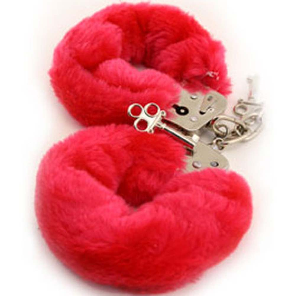Golden Triangle Faux Fur Love Cuffs for Intimate Lovers Plush Red - View #2