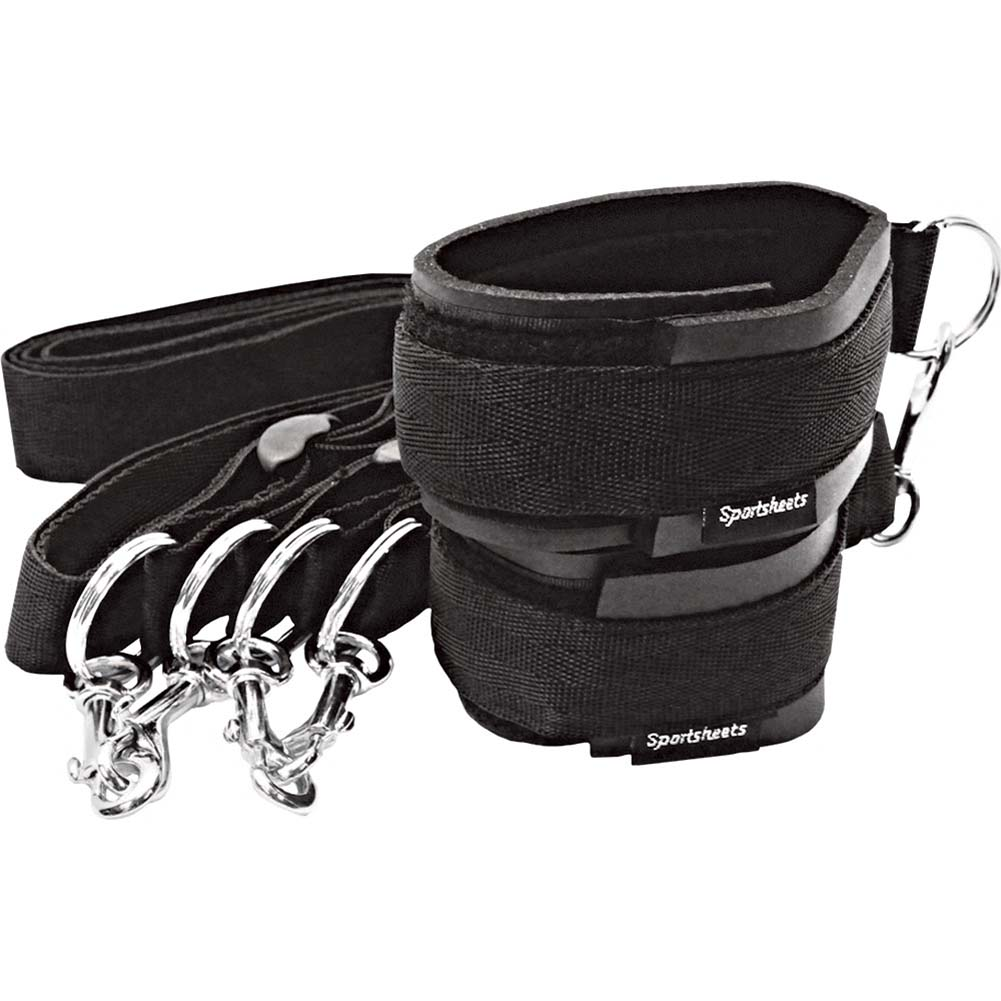 Sportsheets Sports Cuffs and Tethers Kit One Pair Black - View #1