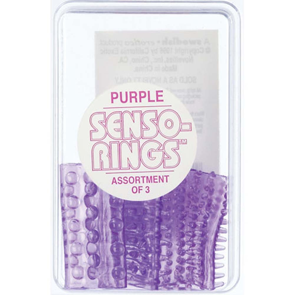 California Exotics Senso Rings Stretchy Cockrings 3 Pack Purple - View #1
