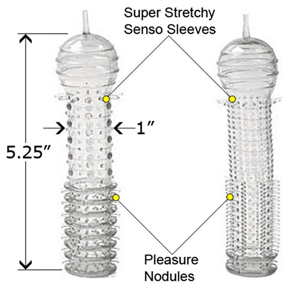 """2 Pack Senso Penis Sleeves 5.25"""" Clear - View #1"""