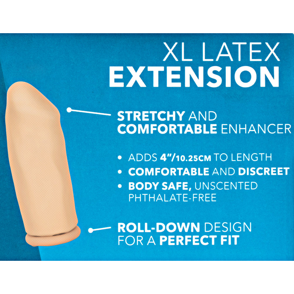 "4"" Extra Length Smooth Latex Penis Extension Condom Ivory - View #1"