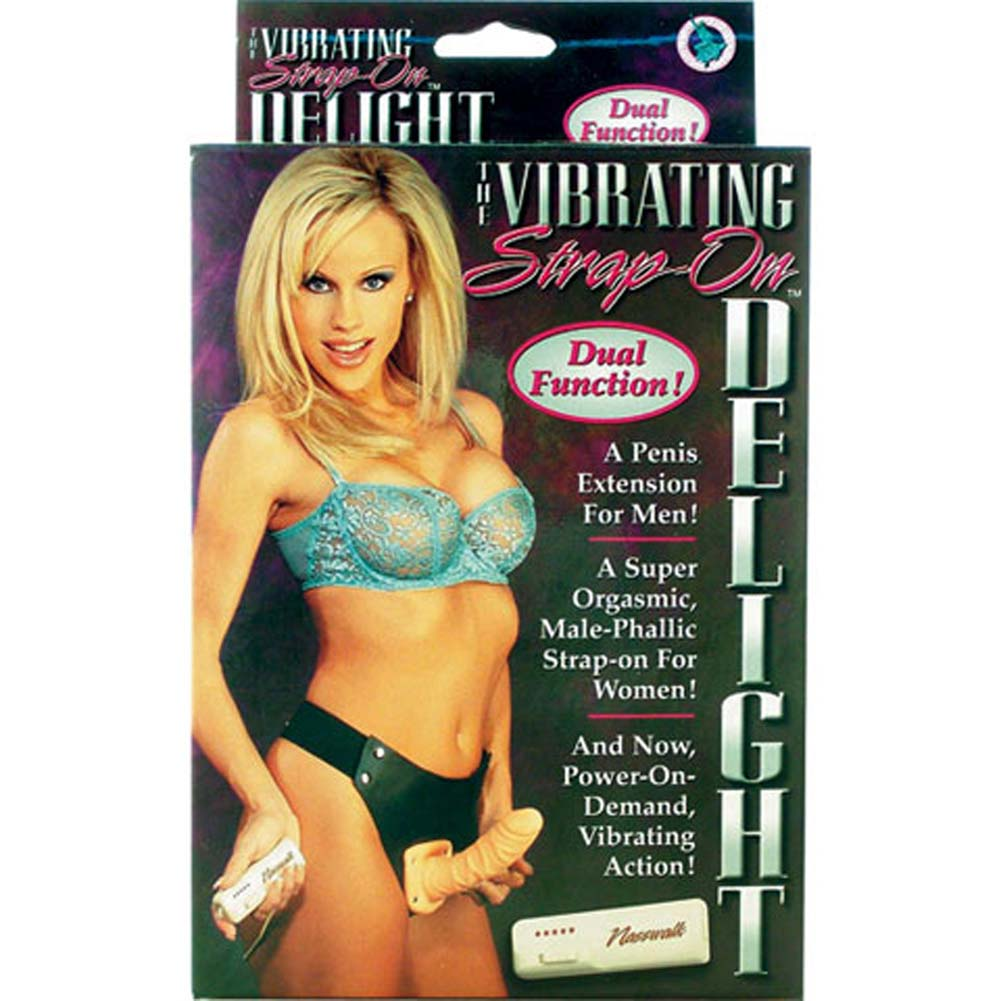 "Strap-On Delight Vibrating Dong 7"" Natural - View #3"