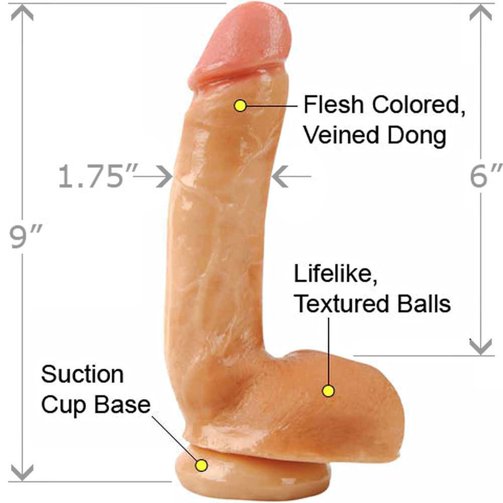 "Adams PleasureSkin Cock and Balls 8"" Flesh - View #1"