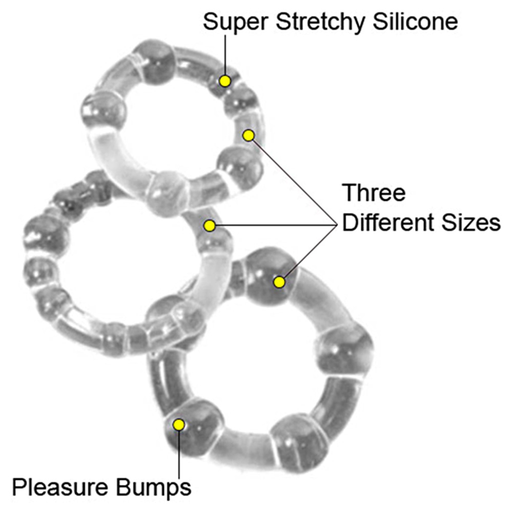 California Exotics Island Silicone Rings 3 Sizes Crystal Clear - View #1