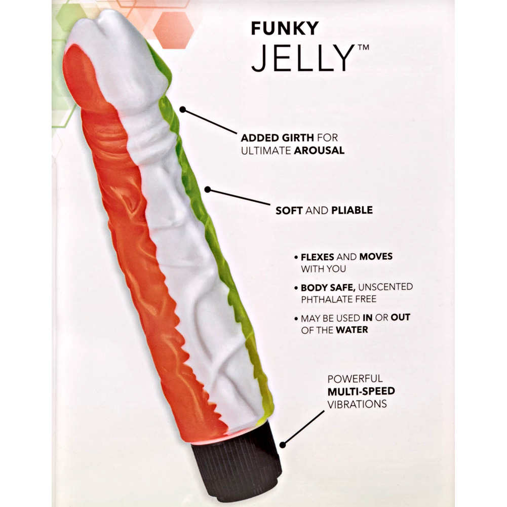 """California Exotics Funky Jelly Waterproof Vibe 8"""" Orange and Green - View #1"""