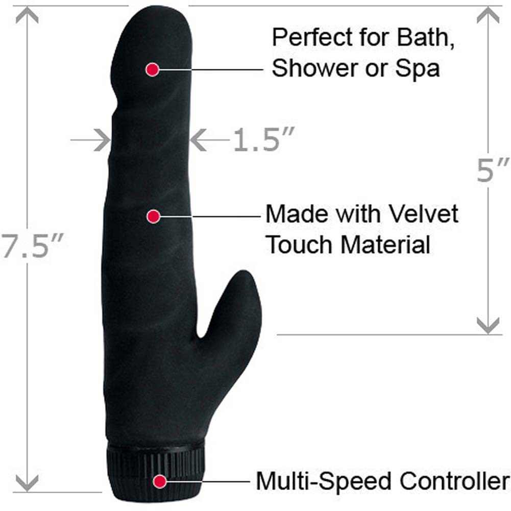 "CalExotics Black Velvet Waterproof Vibrating Clit Stimulator 7.5"" Black - View #1"