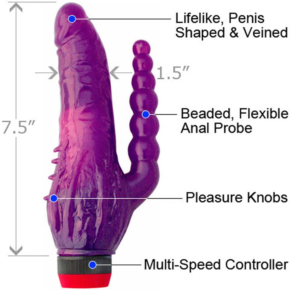 "Jelly Caribbean Tango Personal Vibrator with Beaded Anal Probe 7.5"" Purple - View #1"