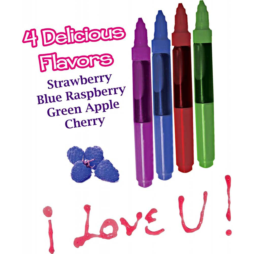 Hottproducts Play Pens Edible Body Paints Green Apple/Blue Raspberry/Cherry/Strawberry - View #3