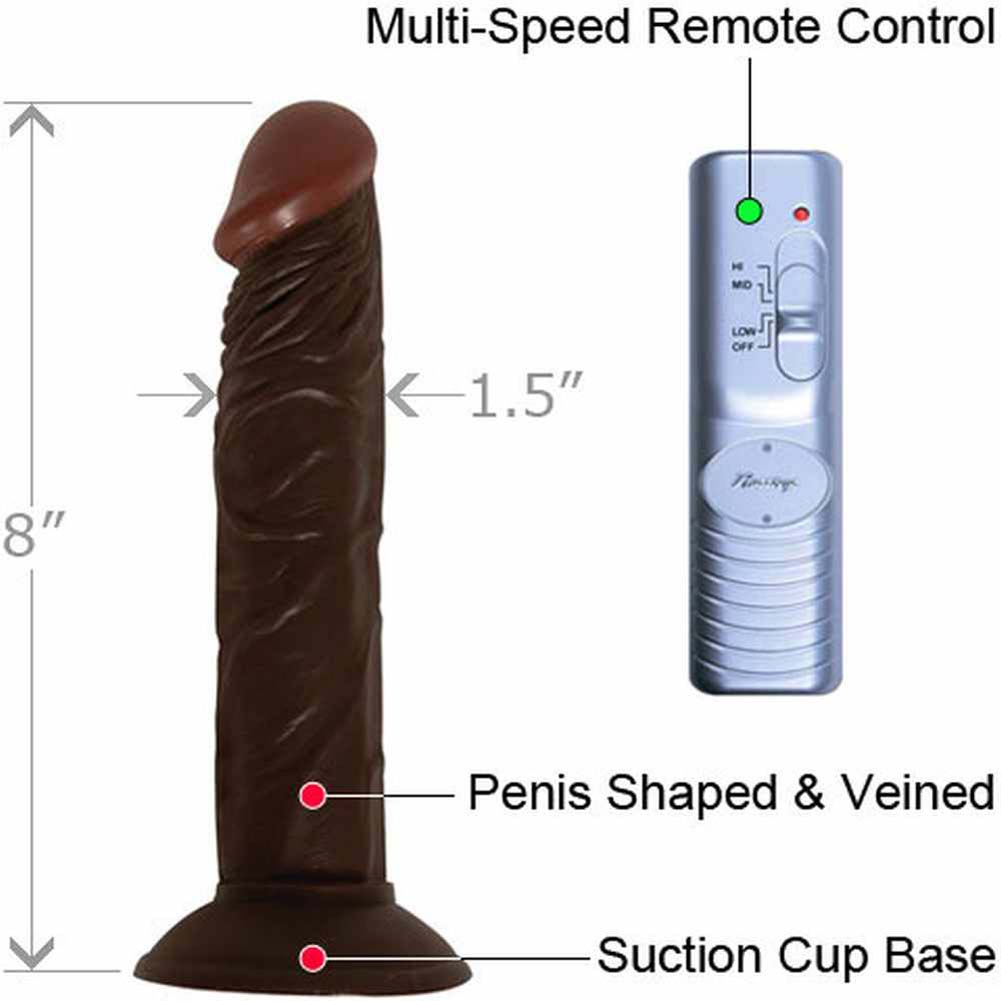 """RealSkin Afro American Whoppers Super Flexible Realistic Vibrator 8"""" Ebony - View #1"""