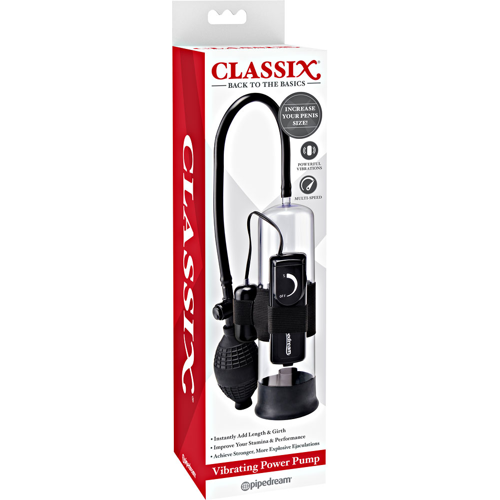 """Classix Vibrating Power Penis Pump 7.5"""" by 2.25"""" Clear/Black - View #4"""