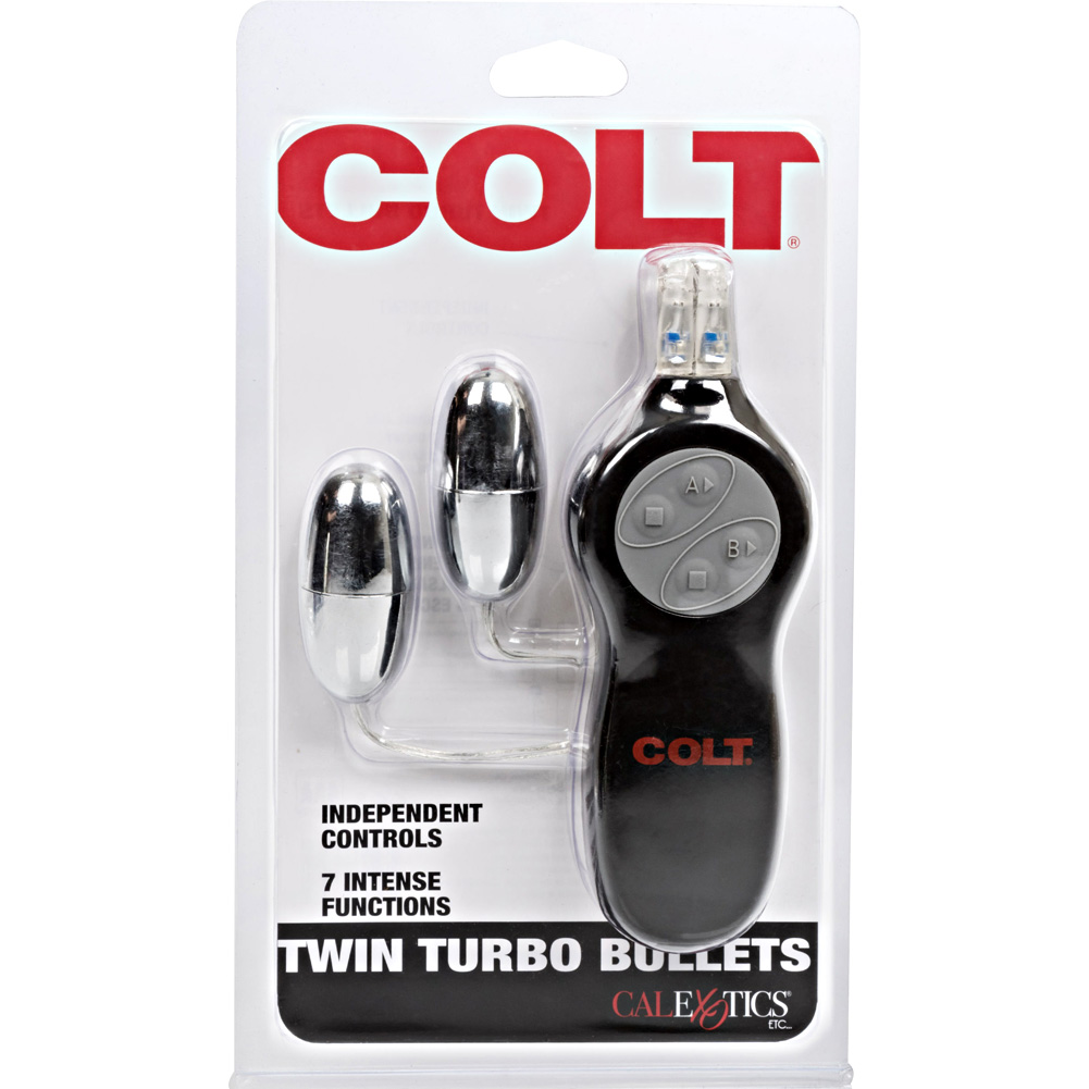 """COLT by CalExotics 7 Function Twin Turbo Vibrating Bullets 2.25"""" Silver - View #4"""