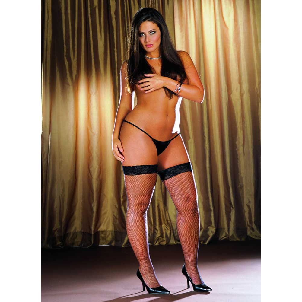 Dreamgirl Fishnet Stay Up Thigh High Stocking with Seams Plus Size Black - View #4