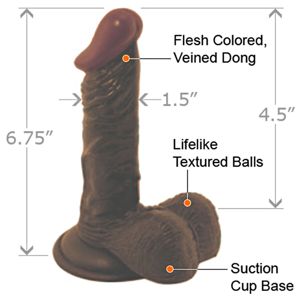 """Nasstoys LifeLikes Black Prince Dong with Balls 6.75"""" Ebony - View #1"""