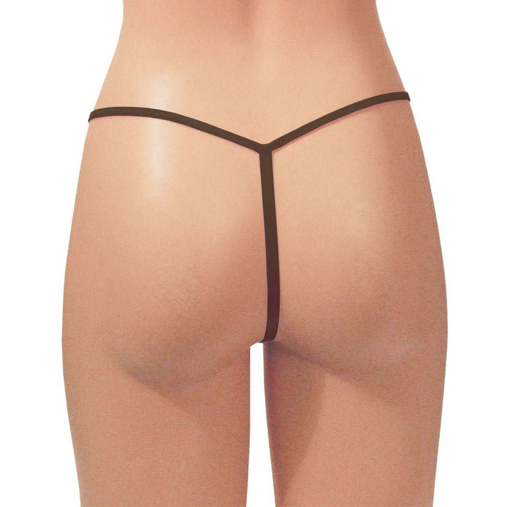 Dear Lady Collection G-String Panty Sheer Mesh One Size Chocolate - View #2