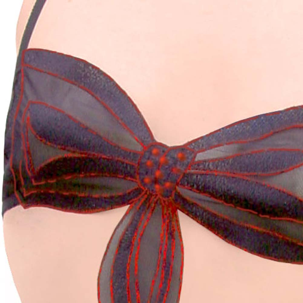 Mystic Bow Bra and G-String Thong Set Large/Extra Large Black/Red - View #3