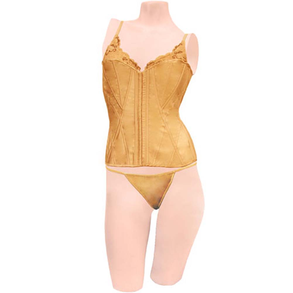 Dear Lady Collection Corset with Lace Cups and Matching Panty Size 32 Gold - View #1