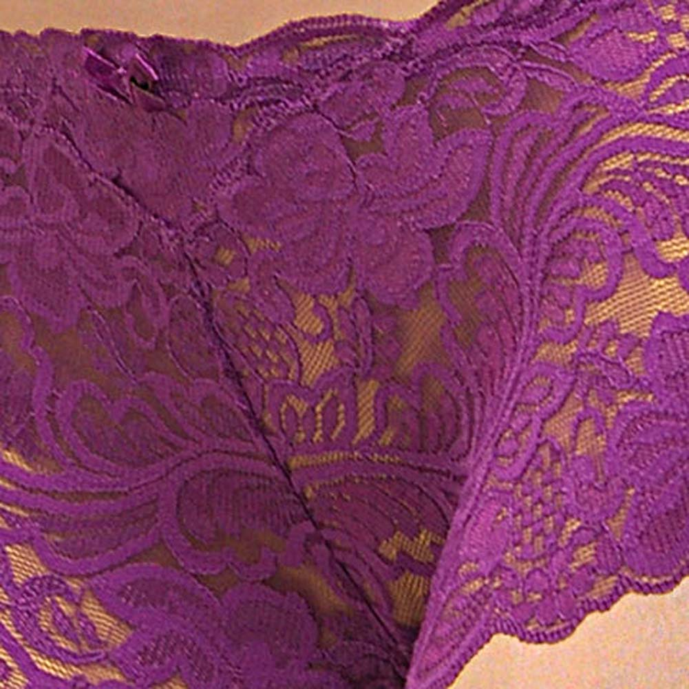 Floral Lace Boy Short Panty for Women Extra Small Purple Lilies - View #3