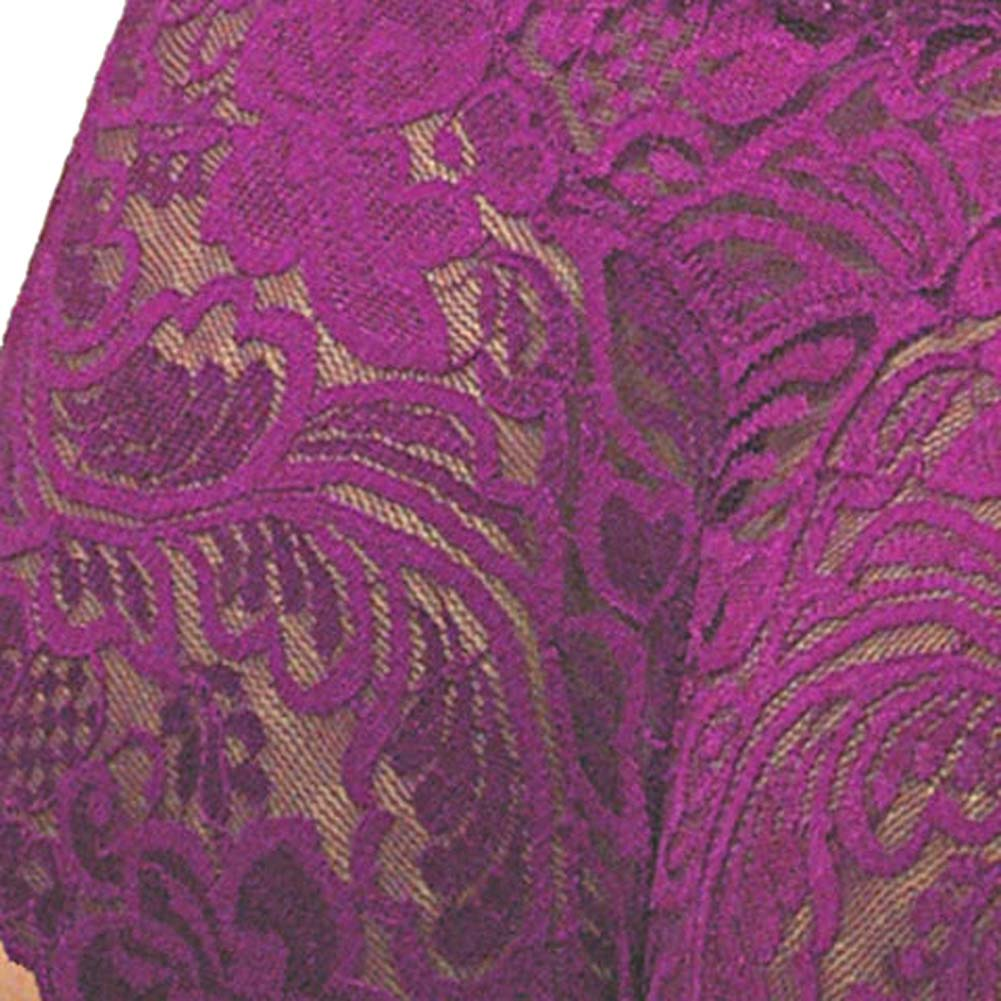 Floral Lace Boy Short Panty for Women Extra Small Purple Lilies - View #4