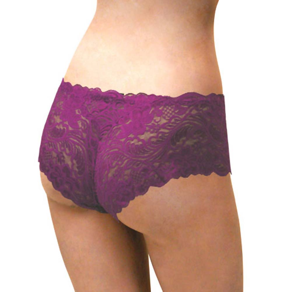 Floral Lace Boy Short Panty for Women Small Purple Lilies - View #2