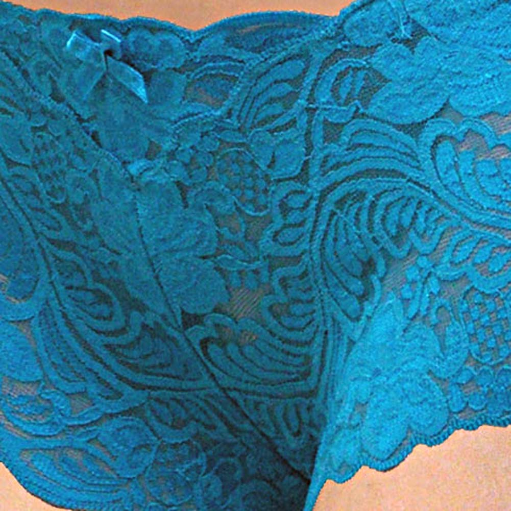 Floral Lace Boy Short Panty for Women Small Cool Blue - View #3