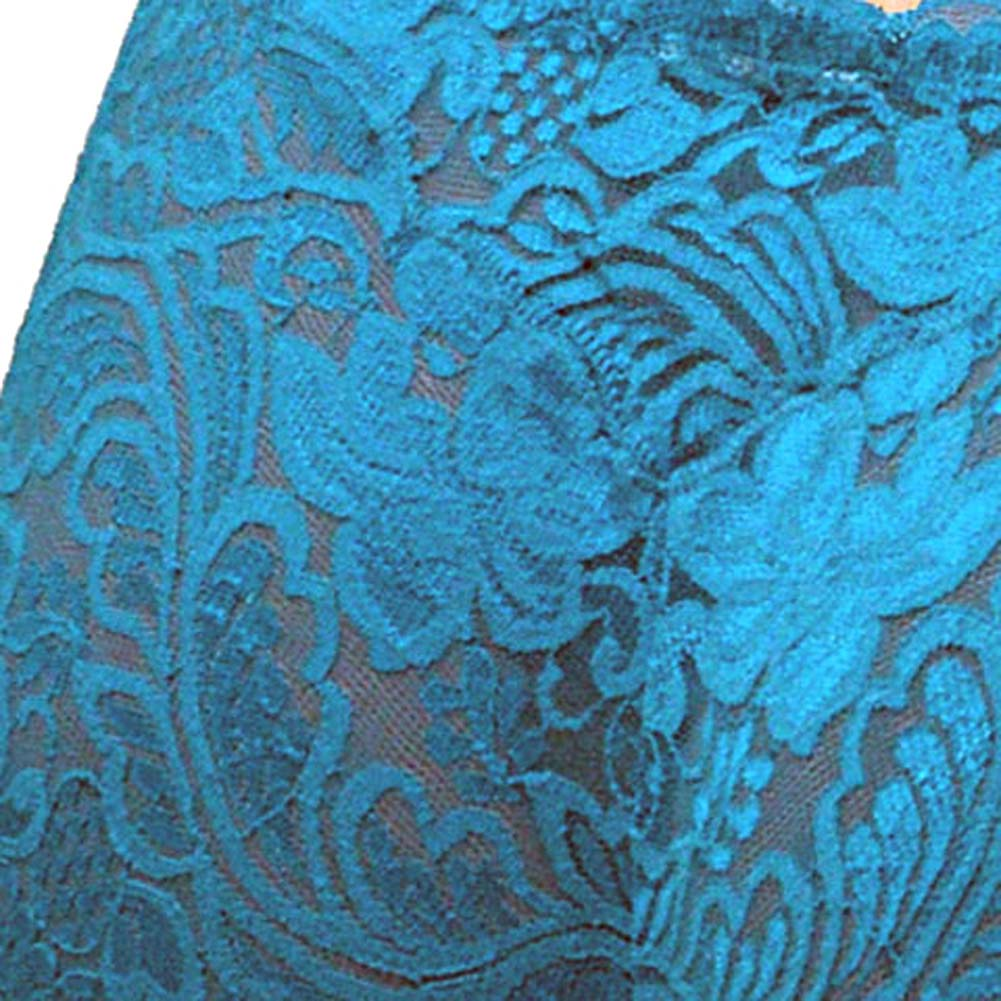 Floral Lace Boy Short Panty for Women Small Cool Blue - View #4