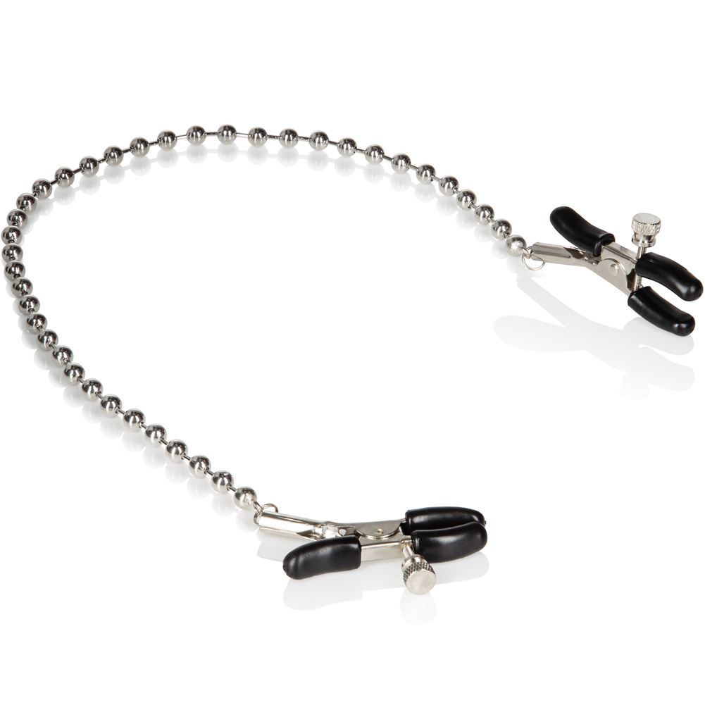 """CalExotics Nipple Play Silver Beaded Nipple Clamps with 13"""" Chain - View #3"""