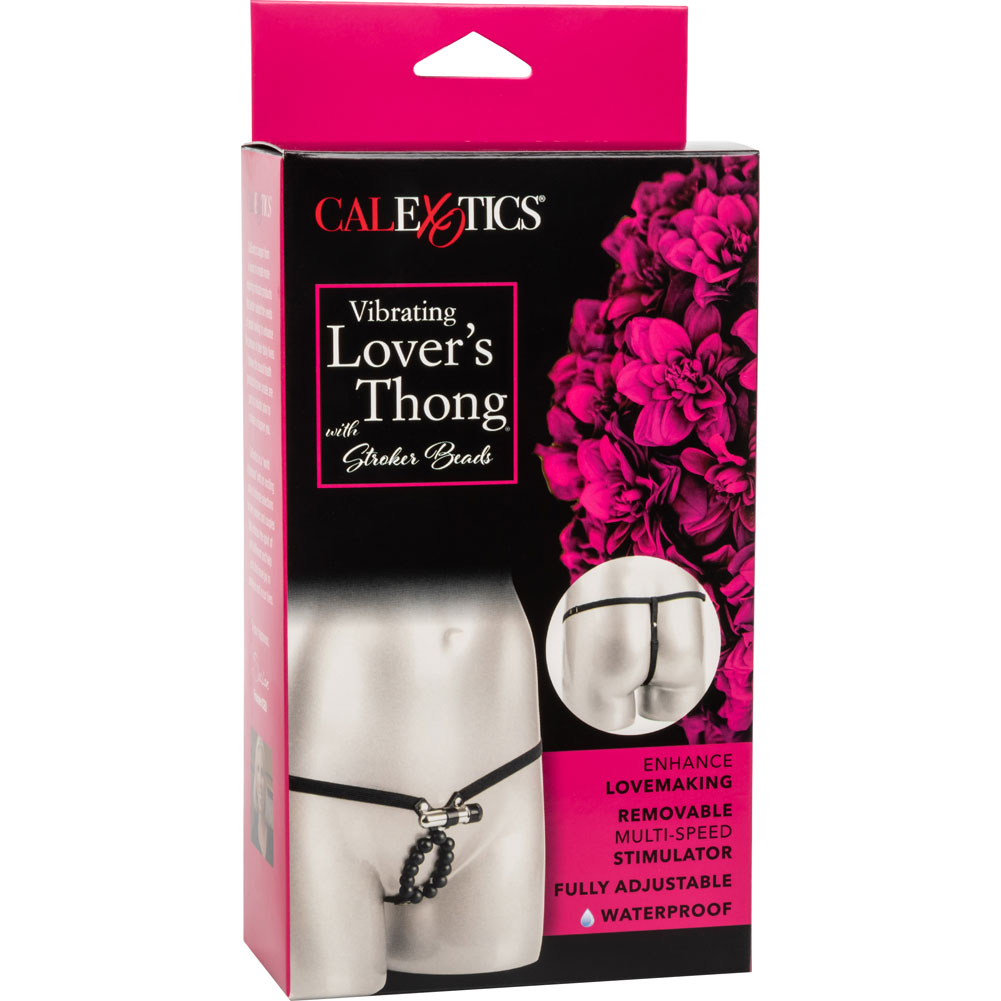 CalExotics Lovers Thong with Waterproof Vibrating Stroker Beads Black - View #4
