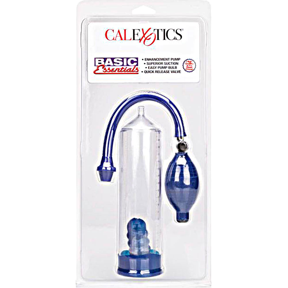 "Basic Essentials Penis Pump 8"" by 2"" Clear/Blue - View #4"